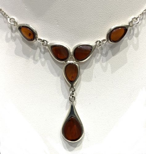 Sterling Silver Amber Collar Necklace